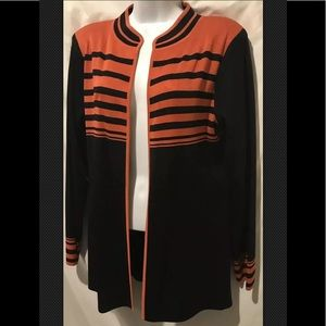 MISOOK Cardigan Small Tunic Striped Open Sweater